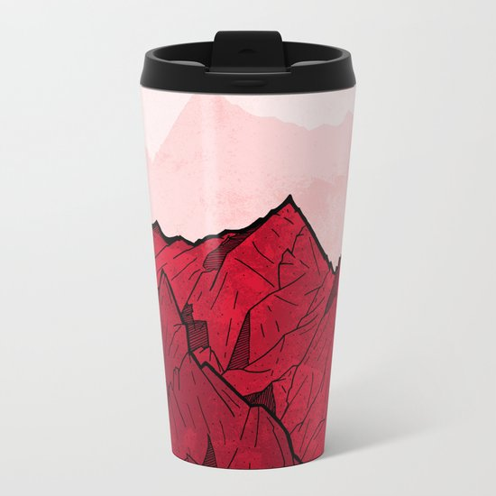 Red mountains under the great moon Metal Travel Mug