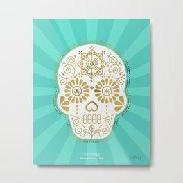 Día de Muertos Calavera • Mexican Sugar Skull – Turquoise & Gold Palette Metal Print