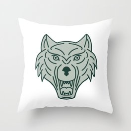 Gray Wolf Head Mono Line Throw Pillow