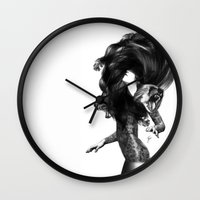 dress Wall Clocks featuring Bear #3 by Jenny Liz Rome