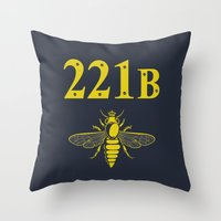 221b Throw Pillows featuring 221B(ee) by sirwatson