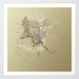 50 Shades of lace Gold Gold Art Print