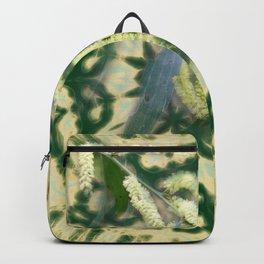 Wattle on green and yellow kaleidoscope Backpack