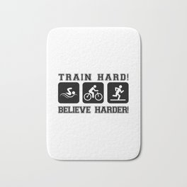 Triathlon Train Hard Gift Bath Mat