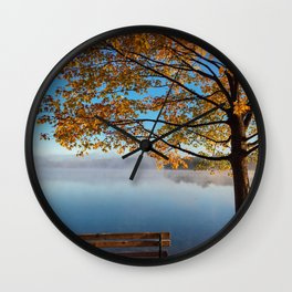 Autumn bench by the lake Wall Clock
