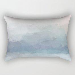 Blush Pink Mint Sky Baby Blue Abstract Ocean Sky Sunrise Wall Art Water Clouds Painting Print Rectangular Pillow