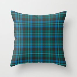 Tartan - Blue and Turquoise on a dark background Throw Pillow