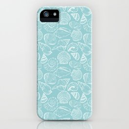 sea shells on blue iPhone Case