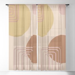 Modern Desert Abstract Shapes and Lines Sheer Curtain