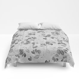 Black and White Leaves Pattern #2 Comforters