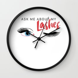 Ask Me About My Lashes - Blue Eyes Wall Clock