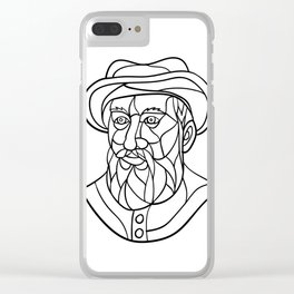 Ferdinand Magellan Mosaic Black and White Clear iPhone Case