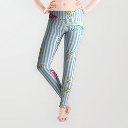 Modern trendy baby blue stripes tropical bright floral pattern Leggings