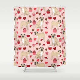 Pug valentines day cupcakes love hearts dog breed pure breed pugs Shower Curtain