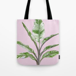 Green Leaves House Plant on Pink Tote Bag