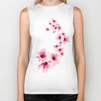 cherry blossom Biker Tanks featuring Cherry Blossom  by Luiz C.