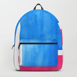 Baby Blue Pastel Pink Minimalist Mid Century Modern Rothko Color Field Geometric Square Shapes Backpack