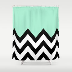 MINT GREEN COLORBLOCK CHEVRON Shower Curtain