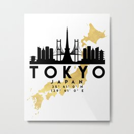 TOKYO JAPAN SILHOUETTE SKYLINE MAP ART Metal Print