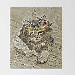 VINTAGE KITTEN DRAWING PRINT Throw Blanket