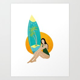 Girl on the beach with surfboard Art Print