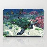 sea turtle iPad Cases featuring Sea Turtle by Simone Gatterwe