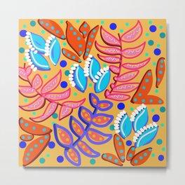 Whimsical Leaves Pattern Metal Print