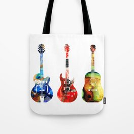 Guitar Threesome - Colorful Guitars By Sharon Cummings Tote Bag
