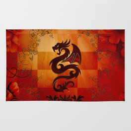 Awesome dragon with floral elements Rug