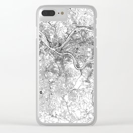 Pittsburgh White Map Clear iPhone Case