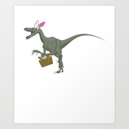 Easter Velociraptor With Bunny Ears _ Easter Basket Art Print