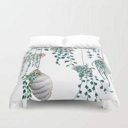 hanging plant in seashell Duvet Cover