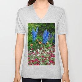 Blue Delphiniums Summer Flowers Unisex V-Neck