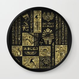 Egyptian  hieroglyphs and symbols gold on black leather Wall Clock