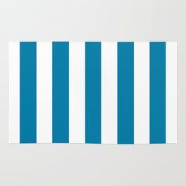 Cerulean turquoise - solid color - white vertical lines pattern Rug