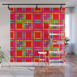Oriental pattern of neon squares and curly crosses on a red background. Wall Mural