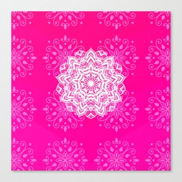 White mandala on bright pink design Canvas Print