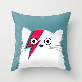 Cat Hero White Throw Pillow