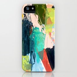 Bloom [2] - a bright mixed media piece in pinks, greens, blues, and yellow iPhone Case