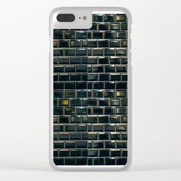 black tile contemporary gloss Clear iPhone Case