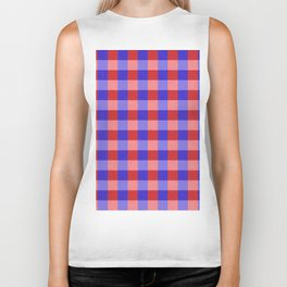 Red Blue and Pink Pretty Check Pattern Biker Tank