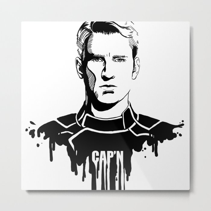 Avengers in Ink: Captain America Metal Print