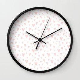 Blush pink white handdrawn watercolor romantic hearts pattern Wall Clock