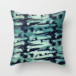 Jade Sage Green Abstract Brush Stroke Pattern Throw Pillow