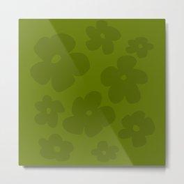 Green Retro Flowers - 60s 70s mod vintage color Metal Print