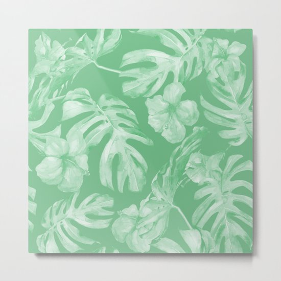 Tropical Palm Leaves Green Metal Print