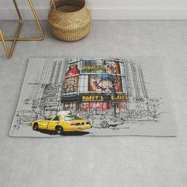Daffys New York City Yellow Cab original sketch Rug