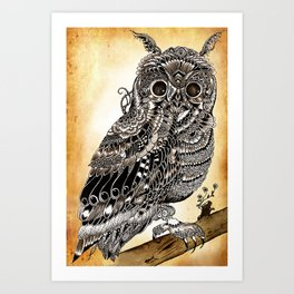 Coffee Owl - Maahy Art Print