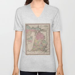 Vintage Map of Michigan (1836) Unisex V-Neck