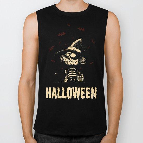 Halloween pumpkin girl Biker Tank